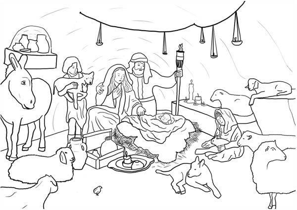 Nativity, : Jesus Born in Bethlehem in Nativity Coloring Page