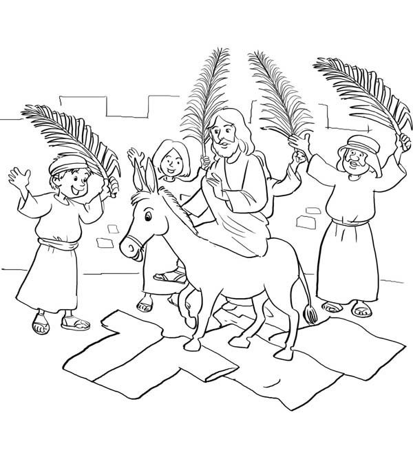 Palm Sunday, : Jesus Entry into Jerusalem in Palm Sunday Coloring Page