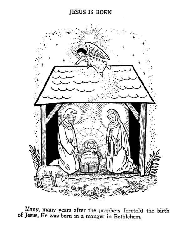 Nativity, : Jesus Nativity Coloring Page