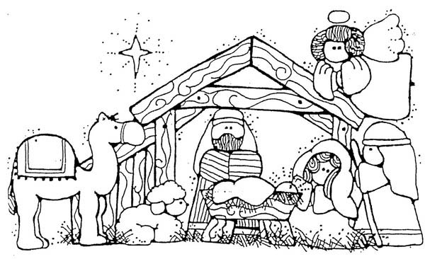 Nativity, : Jesus Nativity in Cartoon Depiction Coloring Page