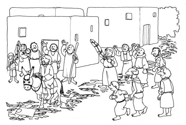 Palm Sunday, : Jesus Rode a Donkey Pass Through Palm Tree Branches Road in Palm Sunday Coloring Page