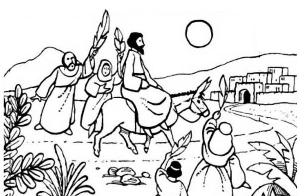 Palm Sunday, : Jesus Rode a Donkey to Jerusalem in Palm Sunday Coloring Page