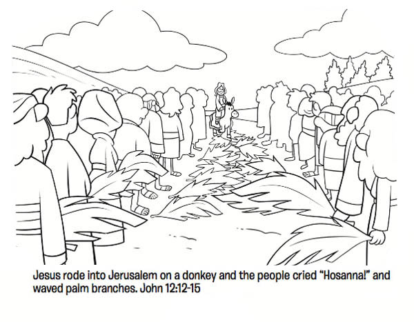 Jesus Rode into Jerussalem on a Donkey in Palm Sunday Coloring