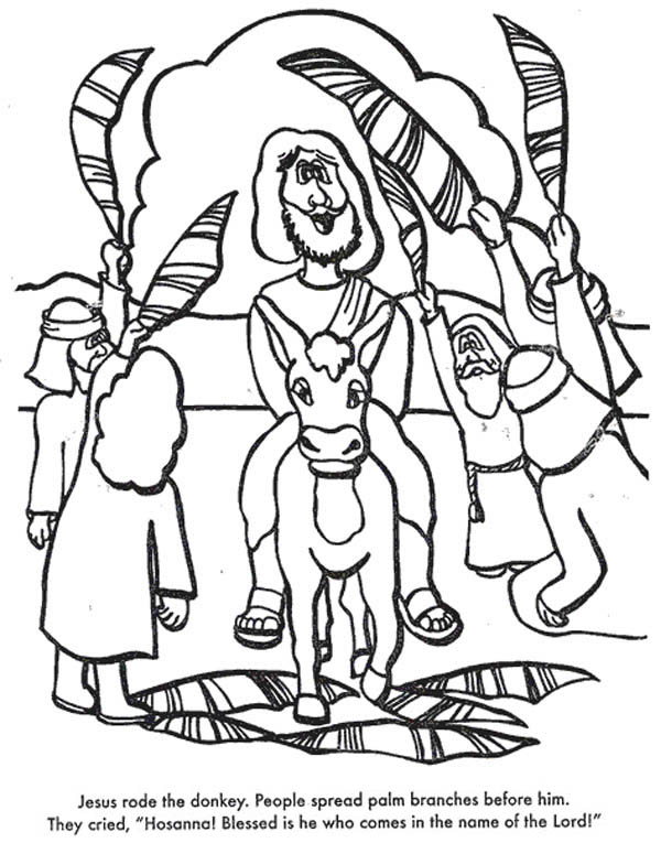 Palm Sunday, : Jesus Rode the Donkey When Entry into Jerusalem in Palm Sunday Coloring Page