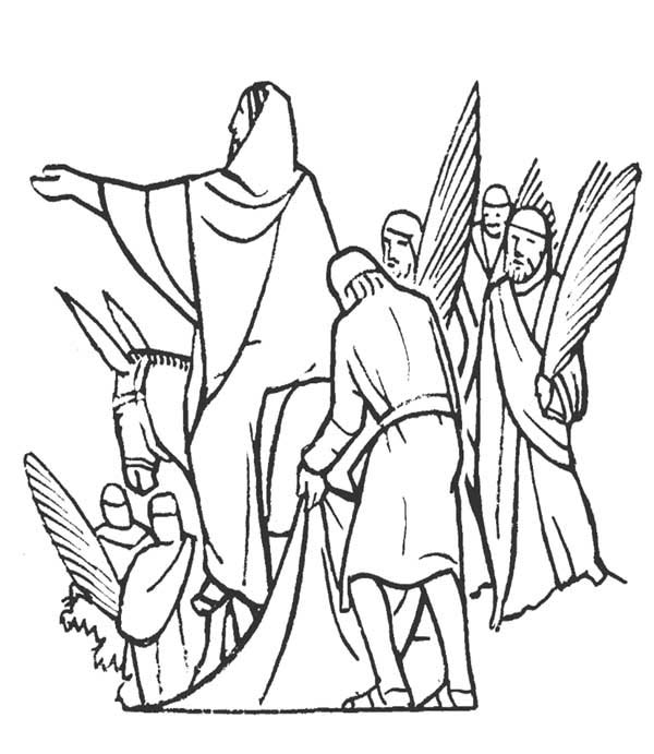 Palm Sunday, : Jesus and People of Jerusalem in Palm Sunday Coloring Page