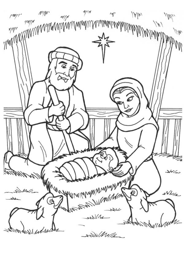 Jesus is Born in a Manger in Nativity Coloring Page  Color Luna