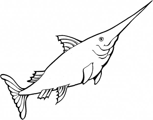 Kid Drawing Of Swordfish Coloring Page