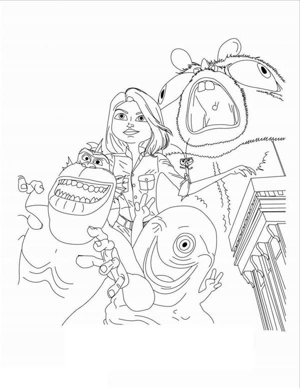 kids drawing of monster vs aliens coloring page