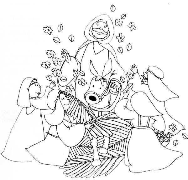 Kids Drawing of Palm Sunday Coloring Page | Color Luna