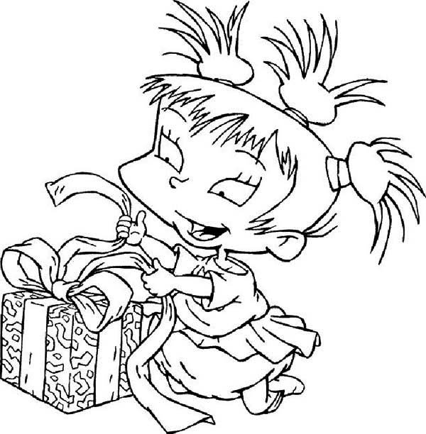 Rugrats, : Kimi Finster Open Her Present in Rugrats Coloring Page