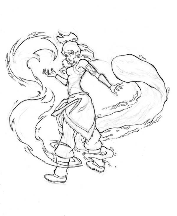 Korra Begin to Water Bending Coloring Page | Color Luna