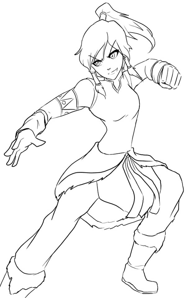 The Legend of Korra, : Korra Get Ready to Fight Coloring Page