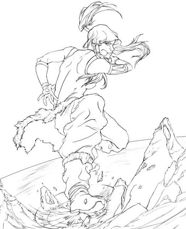 The Legend of Korra, : Korra Ice Breaking Coloring Page