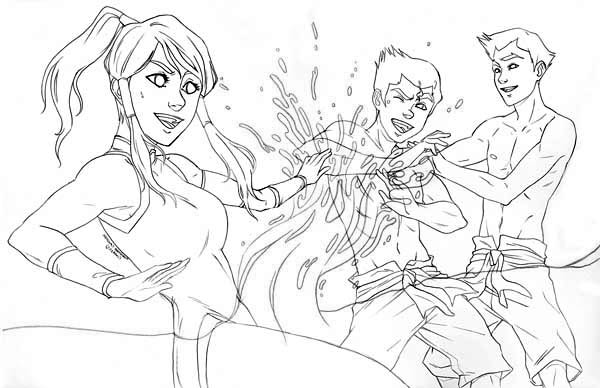 The Legend of Korra, : Korra Play with Bolin and Mako Coloring Page
