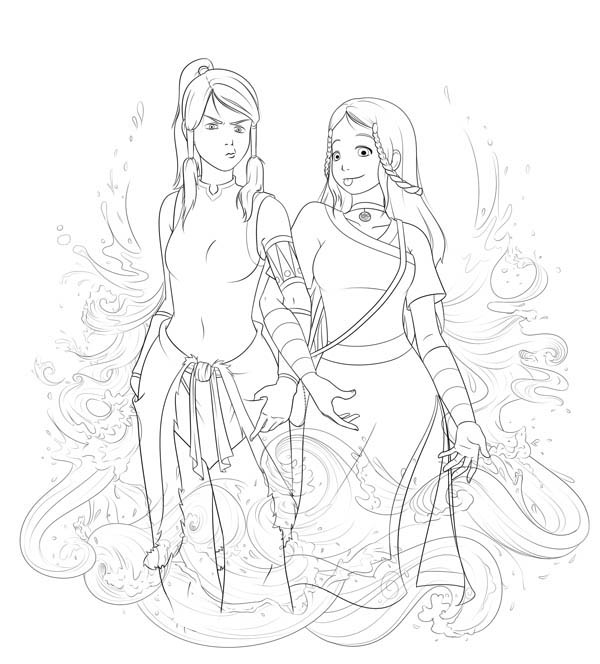 The Legend of Korra, : Korra and Katara Coloring Page