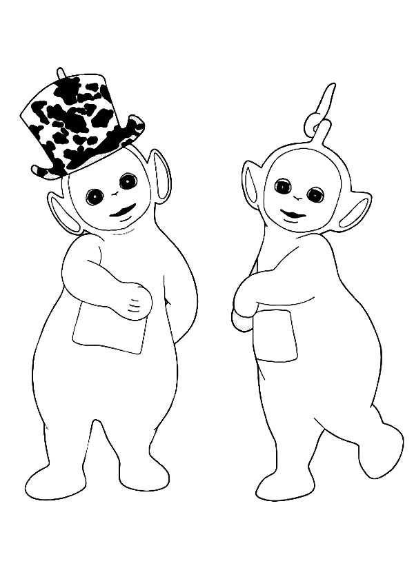 teletubbies coloring page - laa laa love dipsy new hat in the teletubbies coloring