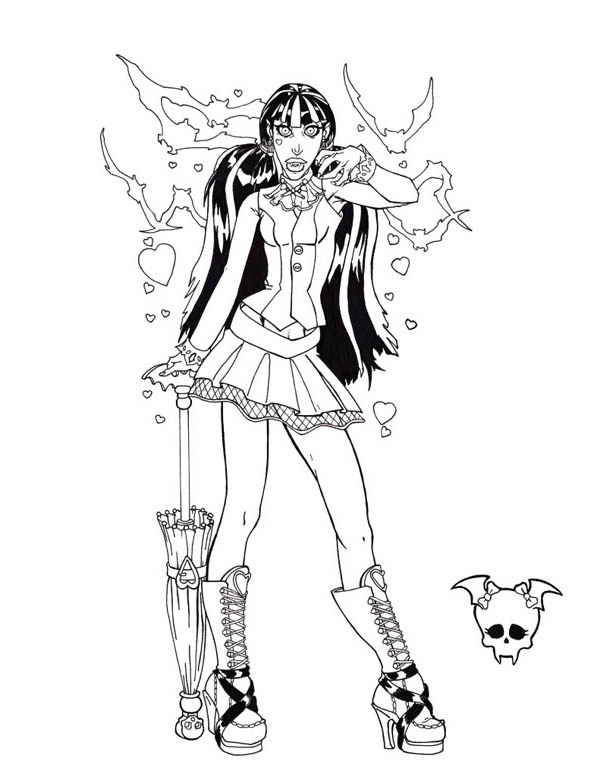 Monster High, : Lady Rocker in Monster High Coloring Page