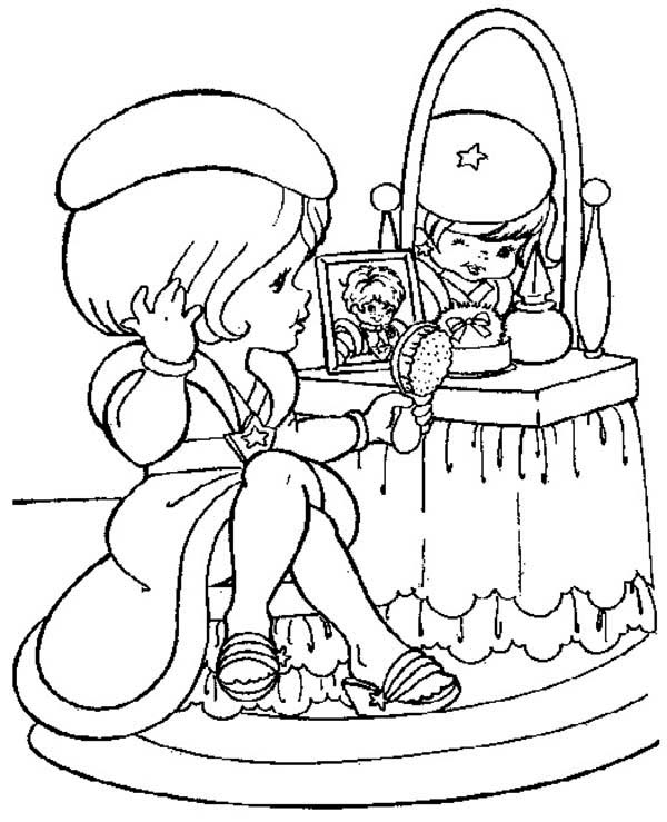 Rainbow Brite, : Lala Orange Looking in the Mirror in Rainbow Brite Coloring Page