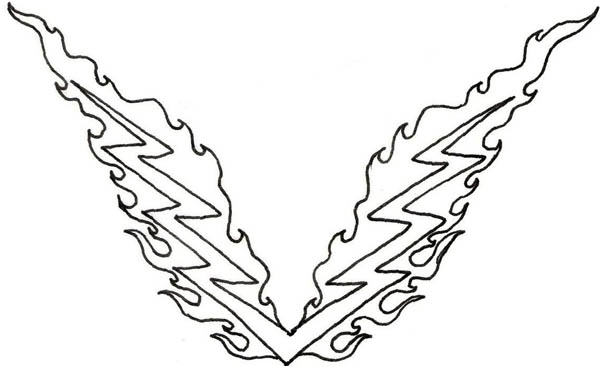 Lightning Bolt, : Lighting Bolt Tattoo Coloring Page