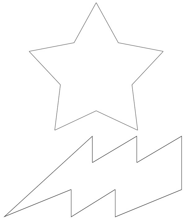 Lightning Bolt, : Lighting Bolt and Star Coloring Page