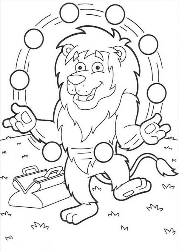 Lion, : Lion Juggling with Many Ball Coloring Page