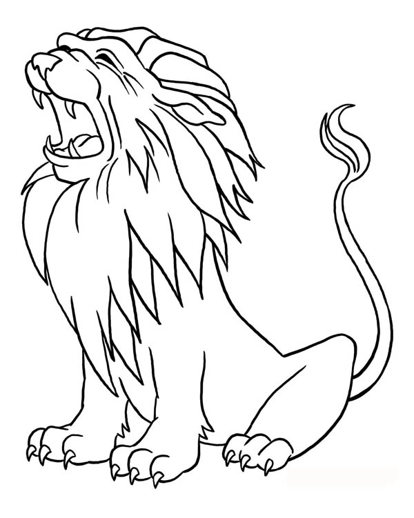 lion growling coloring pages - photo#25