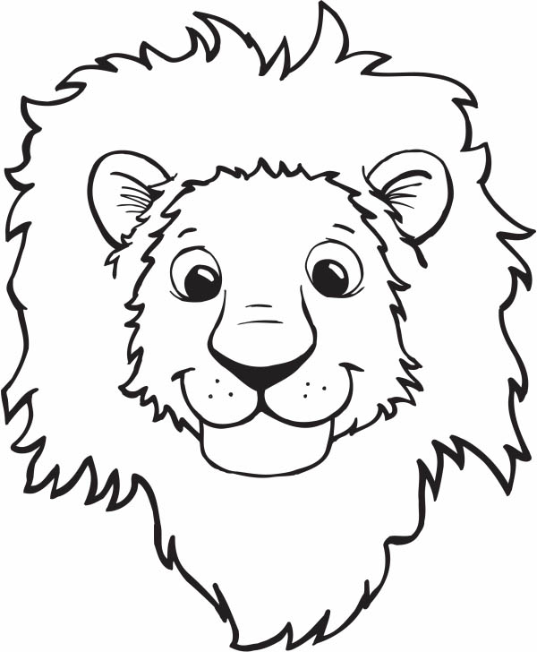 Lion Smiling Face Coloring Page