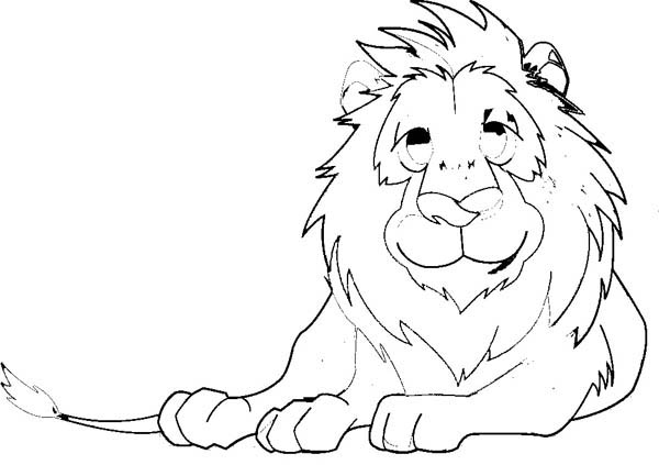 Lion, : Lion Take a Rest After Hunting Coloring Page