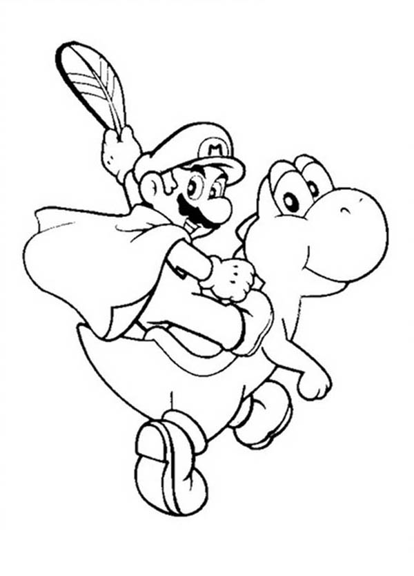 mario ride little dinosaurus in mario brothers coloring page color luna