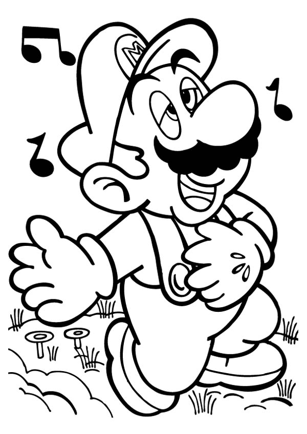 Mario Brothers, : Mario Singing Melancoly in Mario Brothers Coloring Page