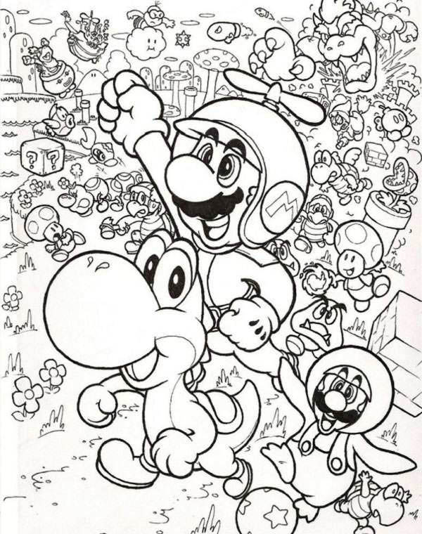 mario and luigi fly with little dragon in mario brothers coloring page