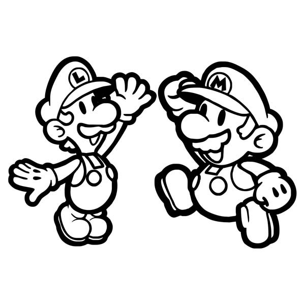 Mario Brothers, : Mario and Luigi High Five in Mario Brothers Coloring Page