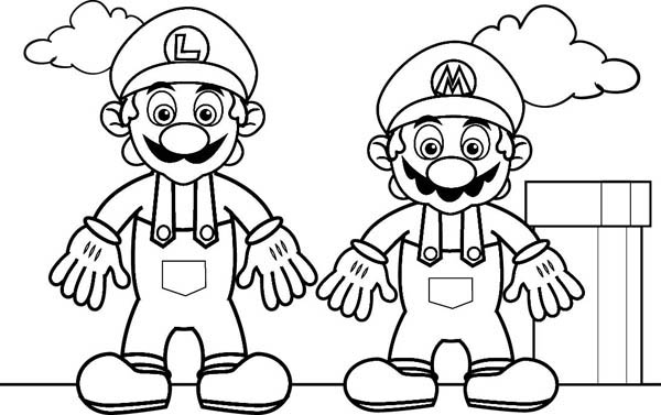 Mario Brothers, : Mario and Luigi in Mario Brothers Coloring Page