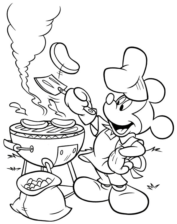 mickey mouse barbeque at back yard coloring page