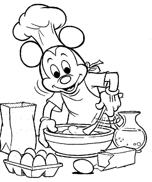 Mickey Mouse Cooking Coloring Page | Color Luna