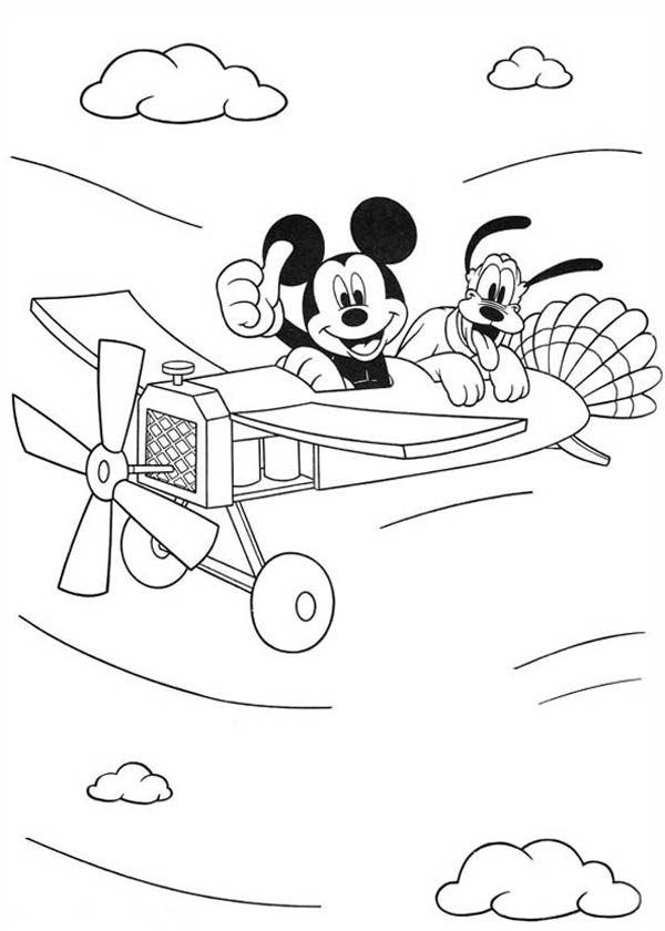 mickey mouse flying on plane with pluto coloring page