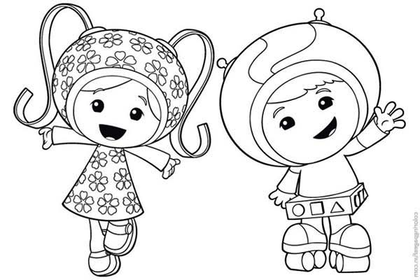 Milli and Geo say Hi in Team Umizoomi Coloring Page Color Luna