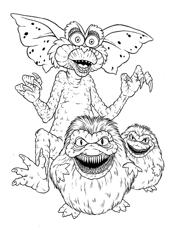 Monsters, : Monster Gremlins Coloring Page