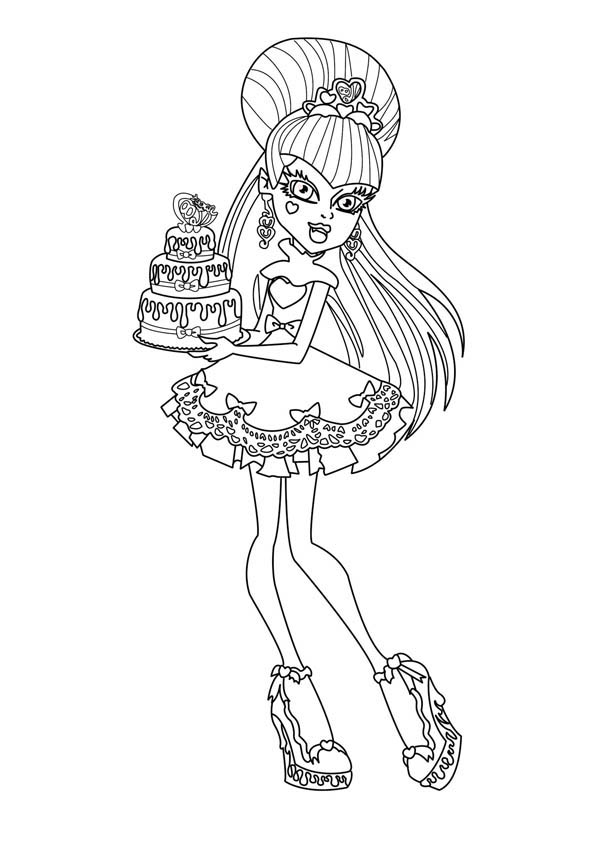 Monster High Character Bring Birthday Cake Coloring Page | Color Luna