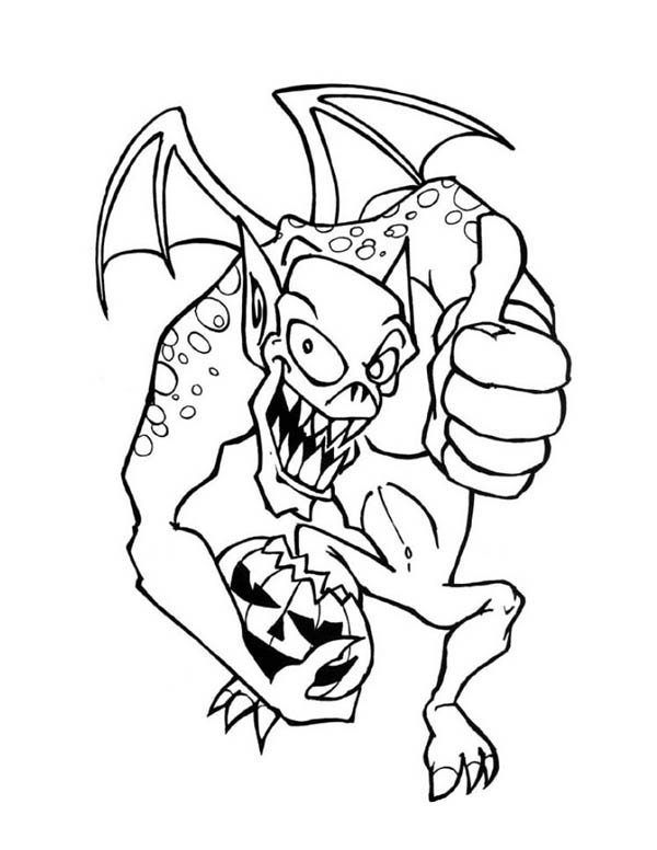 Monsters, : Monster of Halloween with Pumpkin Coloring Page