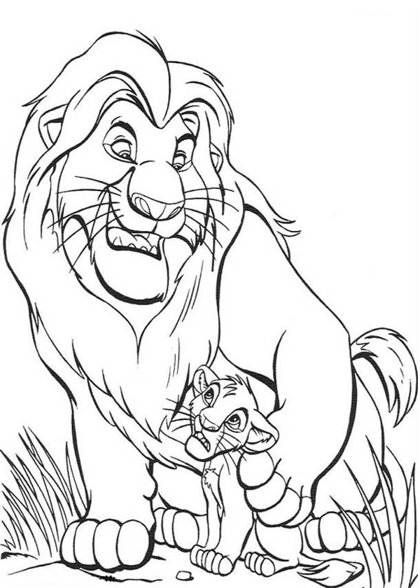 Lion, : Mufasa Give Simba Advise in the Lion King Coloring Page