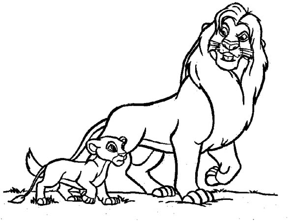 Lion, : Mufasa Take Simba Walking Around in the Lion King Coloring Page