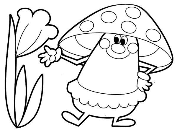 Nature, : Mushroom and Flower of Nature Coloring Page