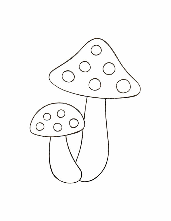 Nature, : Mushroom in Rain Season of Nature Coloring Page