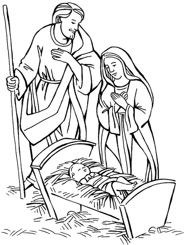 Nativity, : Nativity Jesus Born Scene Coloring Page