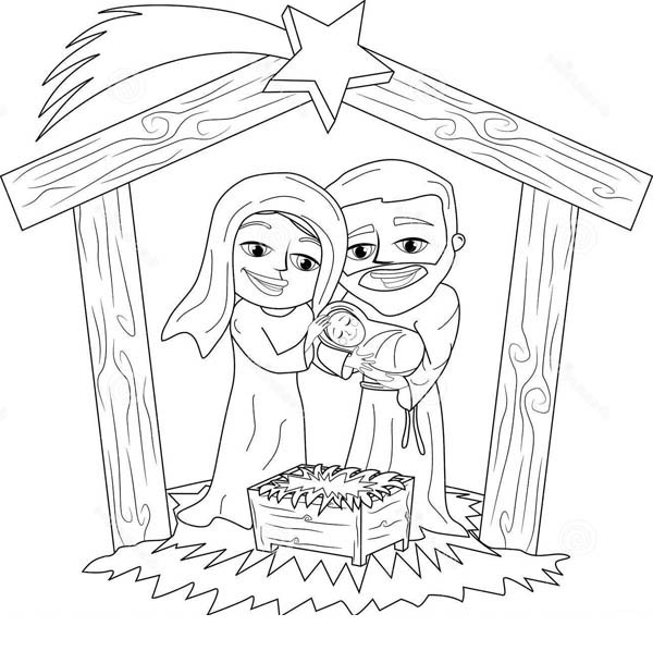 Nativity, : Nativity Jesus is Born Coloring Page