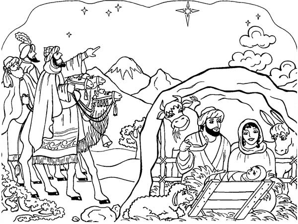 Nativity Scene Coloring Page | Color Luna