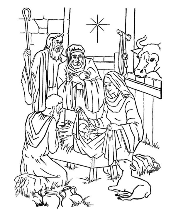 Nativity, : Nativity of Jesus and Star of Bethlehem Coloring Page