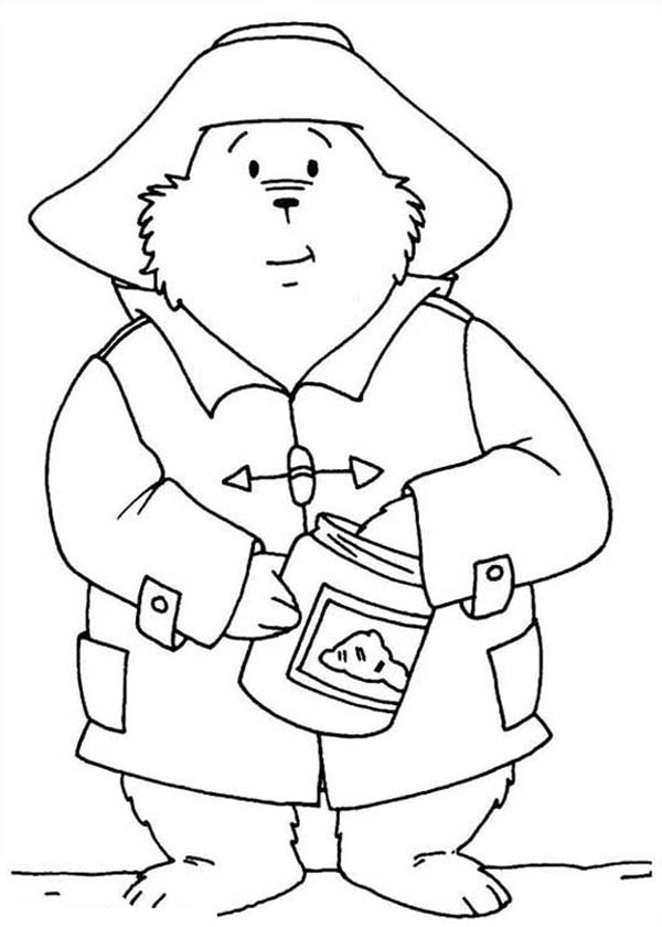 Paddington Bear Eat Honey from Honey Jar Coloring Page | Color Luna