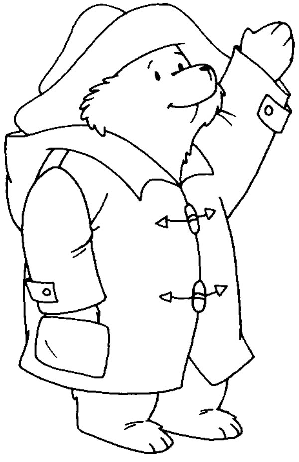 Paddington Bear Greeting Someone Coloring Page